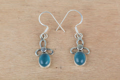 Genuine Aqua Chalcedony Earrings In Sterling Silver