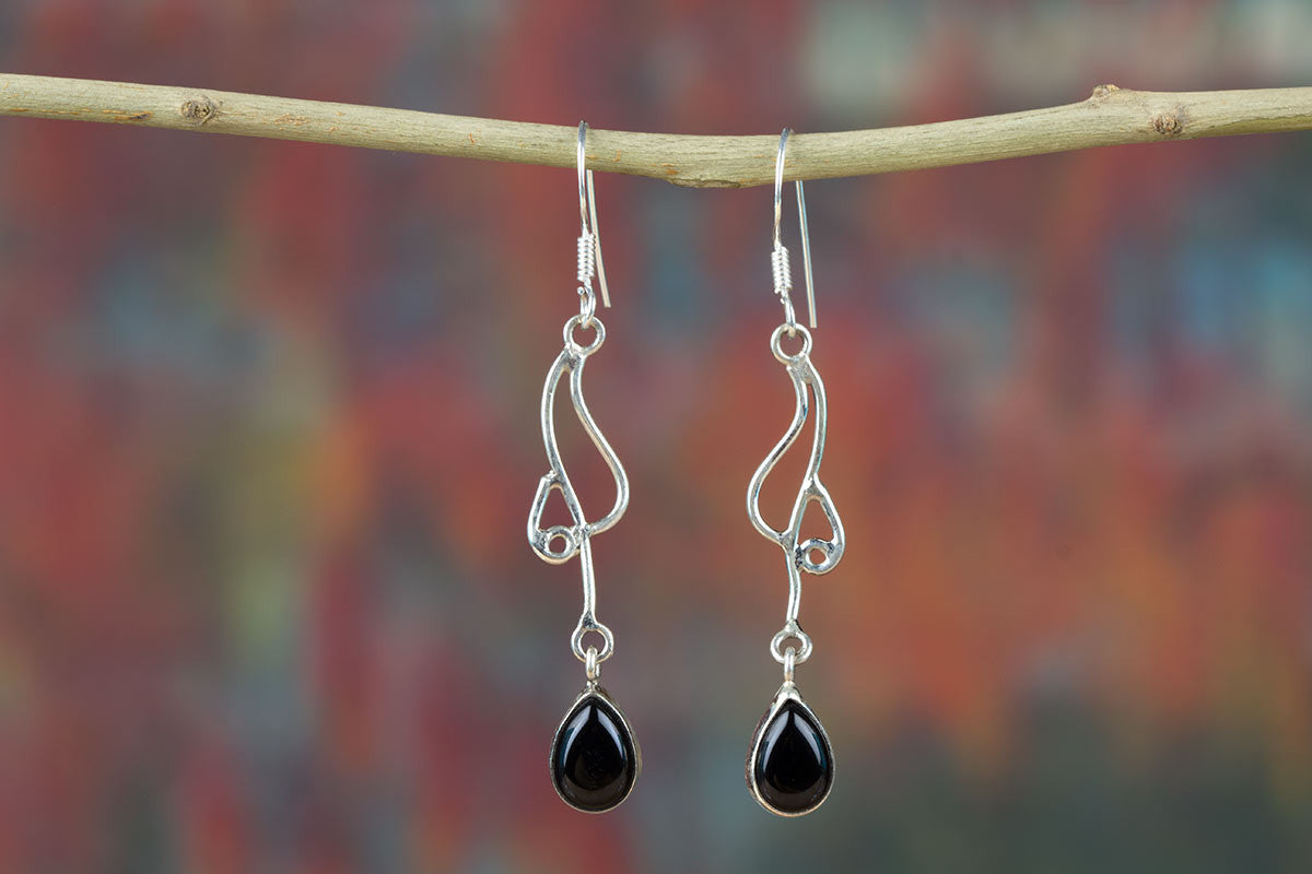 Powerful Handmade Earrings With Black Onyx