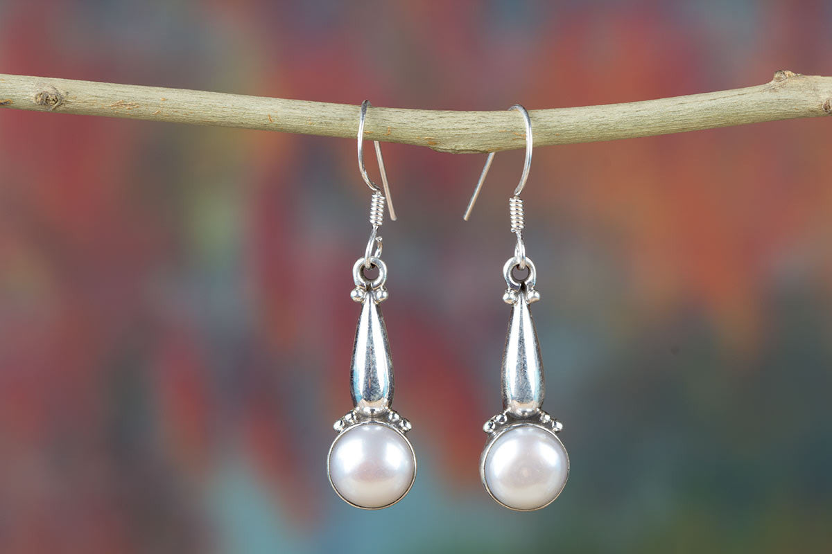 Sensational Silver Earrings With Pearls