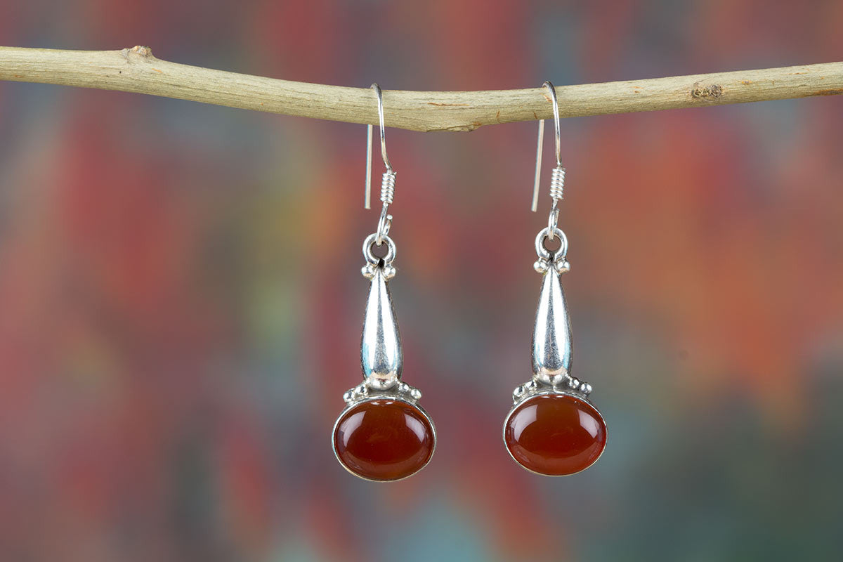 Amazing Red Onyx Silver Earrings Online India