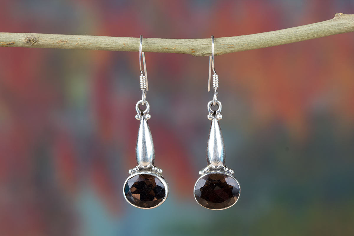 Beautiful Smoky Quartz & Pure 925 Sterling Silver Earring