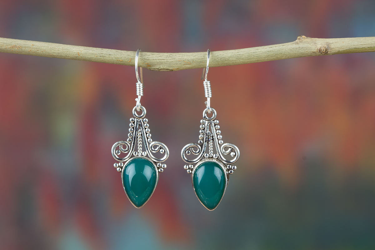 Sensational Sterling Silver Green Onyx Earrings