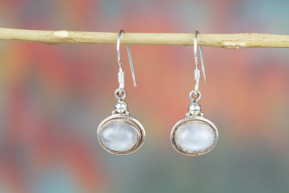 Rainbow Moonstone Gemstone 925 Silver Earring
