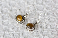 Tiger Eye Gemstone 925 Silver Earring