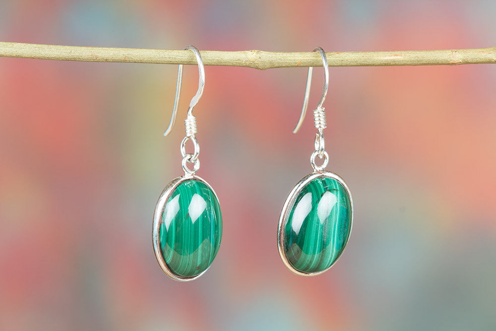 Malachite Gemstone 925 Silver Earring
