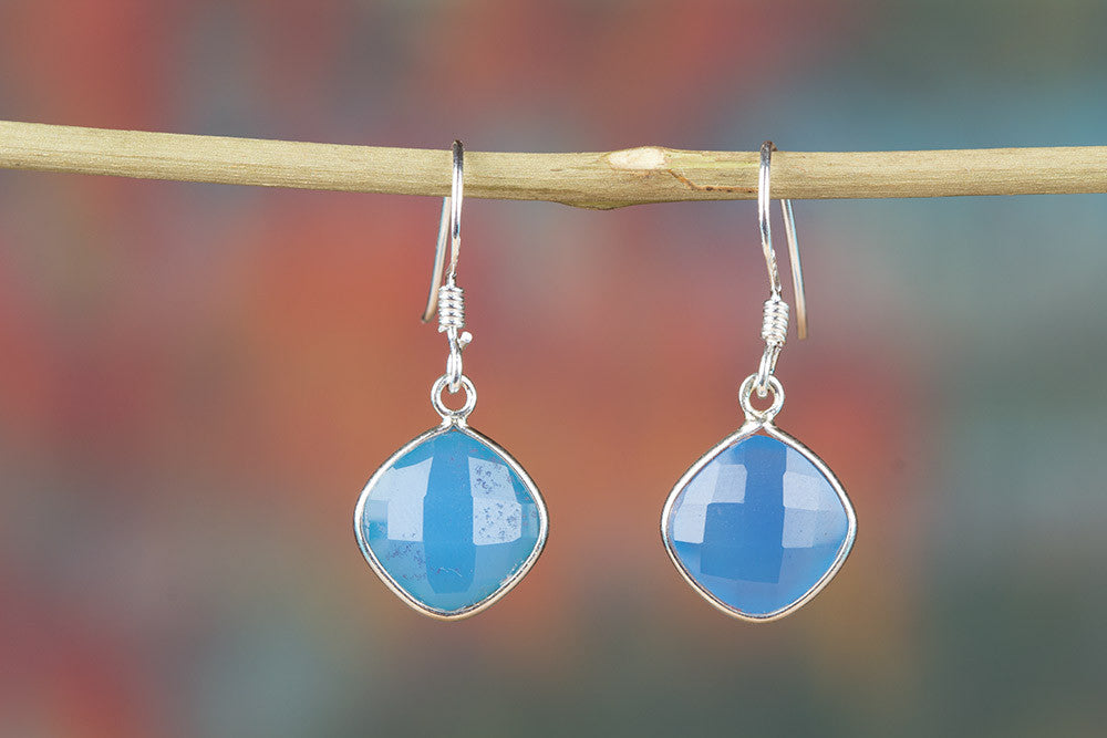 Faceted Blue Chalcedony Gemstone 925 Silver Earring