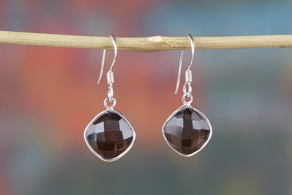 Smoky Quartz Gemstone 925 Silver Earring