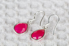 Faceted Pink Chalcedony Gemstone 925 Silver Earring