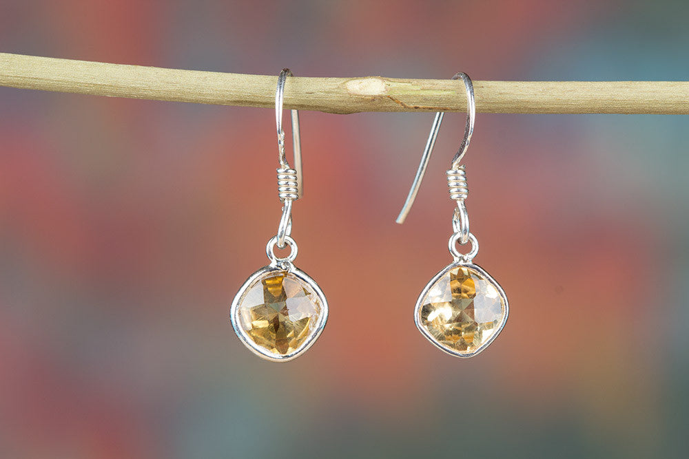 Faceted Citrine Gemstone 925 Silver Earring