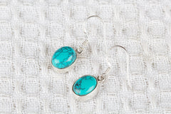 Purple Turquoise Gemstone 925 Silver Earring