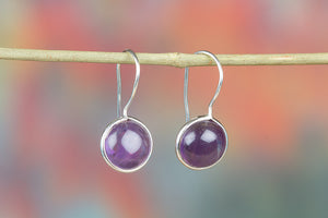 Amethyst Earring, Sterling Silver Earring, Purple Stone Jewelry, February Birthstone Earring, Silver Earring, Dangle Earrings, Drop Earring, Gift For Her,