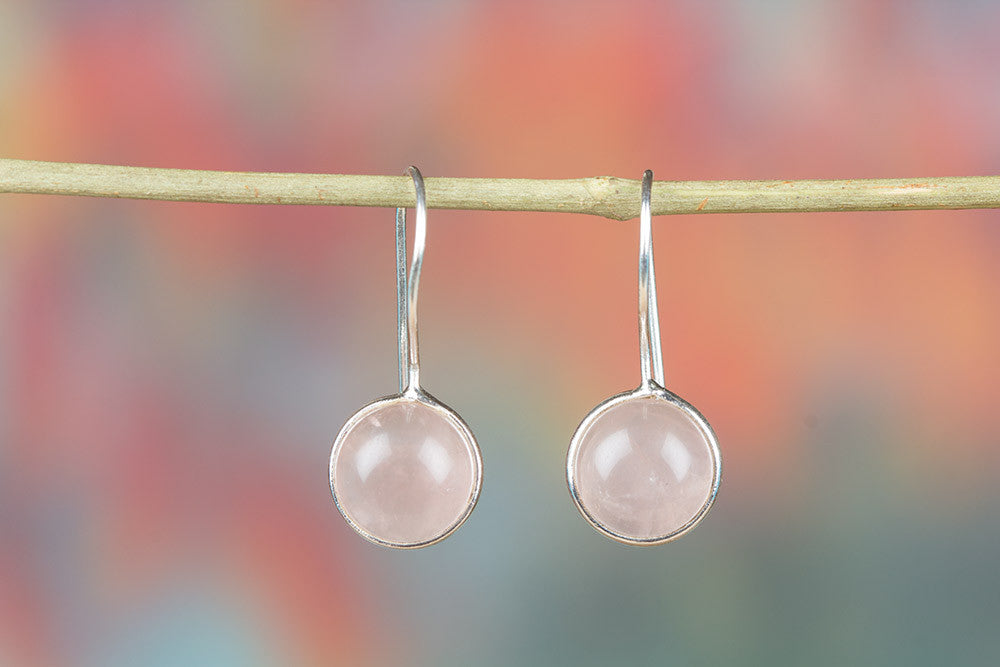 Simple 925 Silver Rose Quartz Dangle Earring
