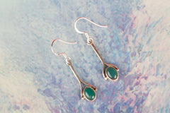Green Onyx Gemstone 925 Silver Earring