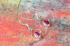 Ruby Gemstone 925 Silver Earring