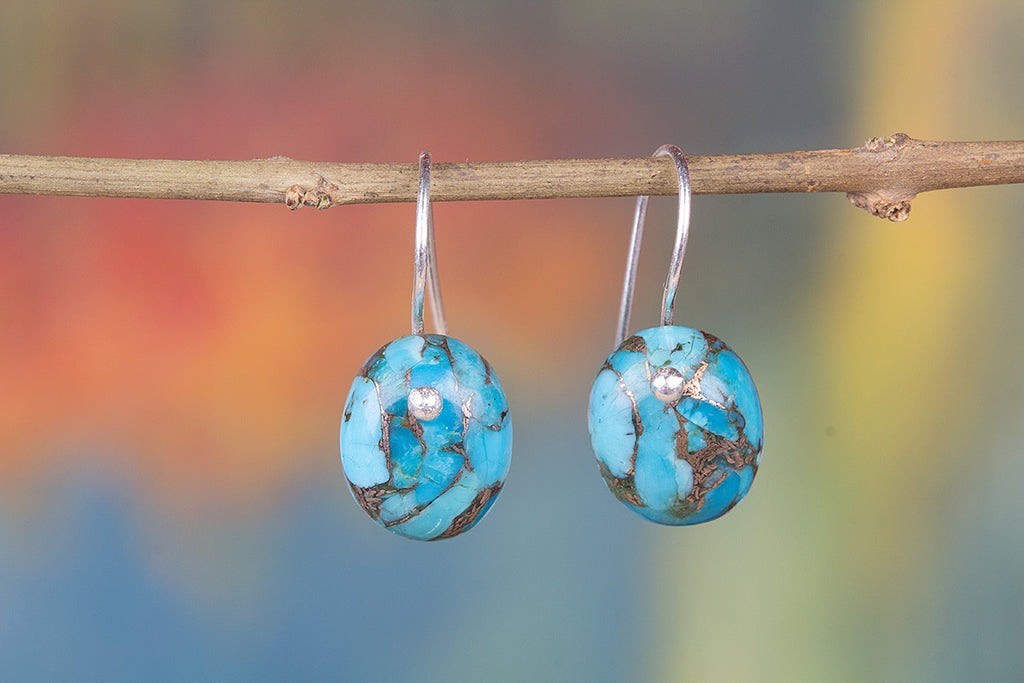 Blue Copper Turquoise Gemstone 925 Silver Earring