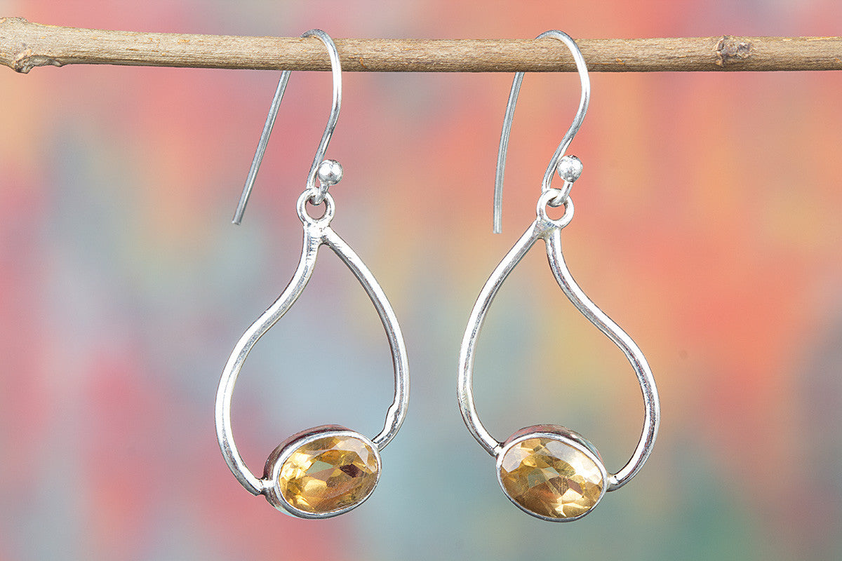 Amazing 925 Sterling Silver Faceted Citrine Earring for Woman