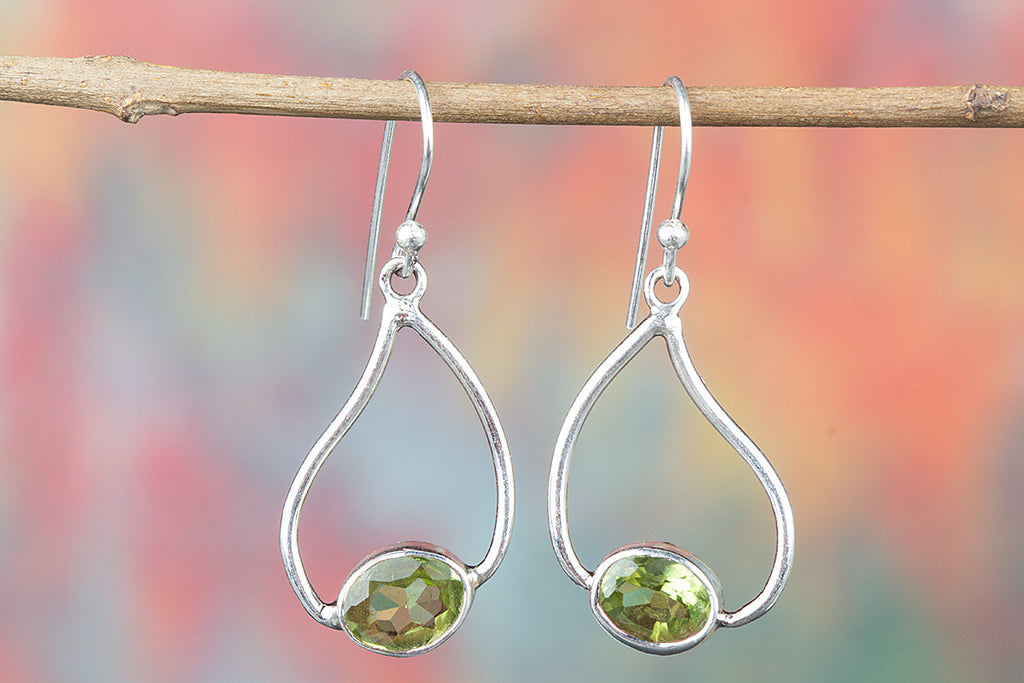 Pure 925 Sterling Silver Peridot Earring for Woman