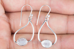 Genuine Handmade Rianbow Moonstone Silver Earring
