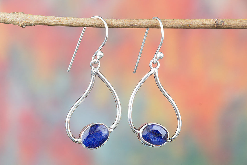 Blue Sapphire Sterling Silver Earring for Woman