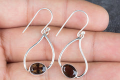 Beautifully Handmade 925 Sterling Silver Smoky Quartz Earring