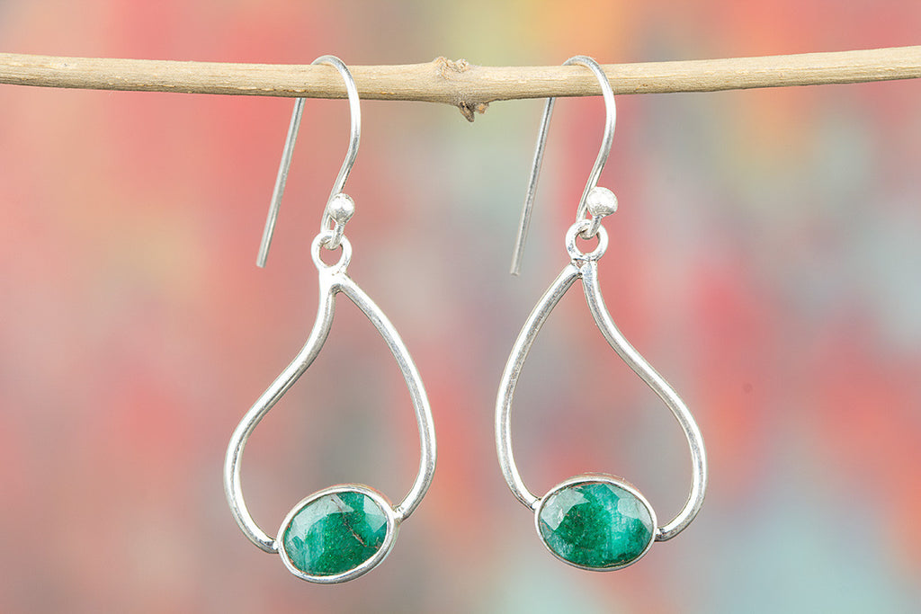 Genuine Handmade Emerald Silver Earring