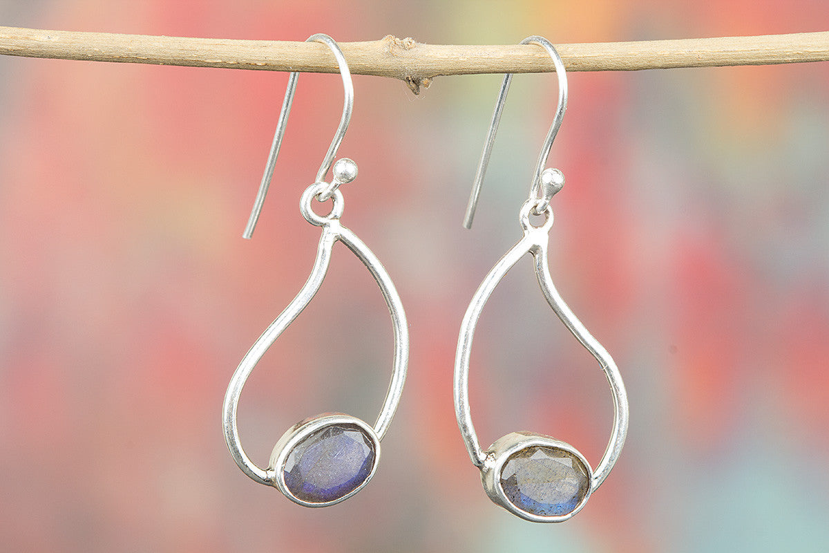 Amazing 925 Sterling Silver Faceted Labradorite Earring for Woman
