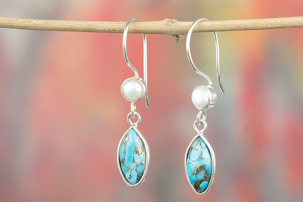 Rare Blue Copper Turquoise With Pearl 925 Silver Earring