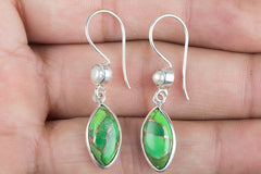 Fashionable 925 Sterling Silver Gemstone Green Turquoise Earring for woman