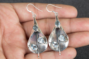 Blue Topaz Gemstone 925 Silver Earring
