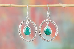 Emerald Gemstone Sterling 925 Silver Earrin