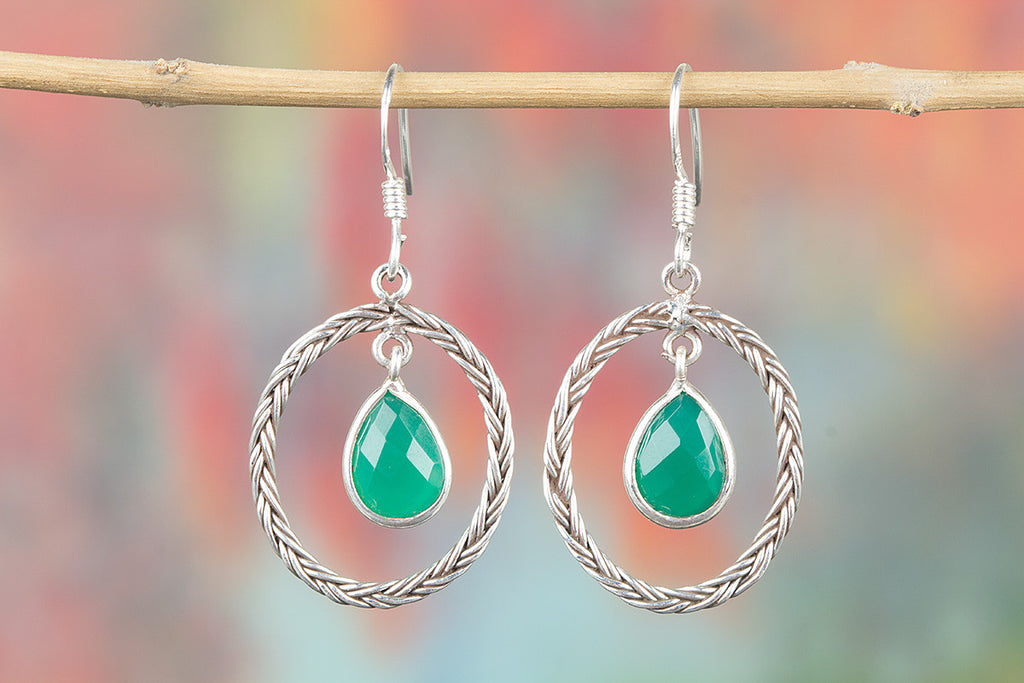 Faceted Green Onyx Gemstone Sterling 925 Silver Earrin