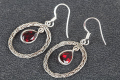 Faceted Garnet Gemstone Sterling 925 Silver Earrin