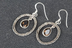 Faceted Smoky Quartz Gemstone Sterling 925 Silver Earrin