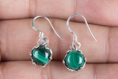 Malachite Gemstone Sterling 925 Silver Earrin