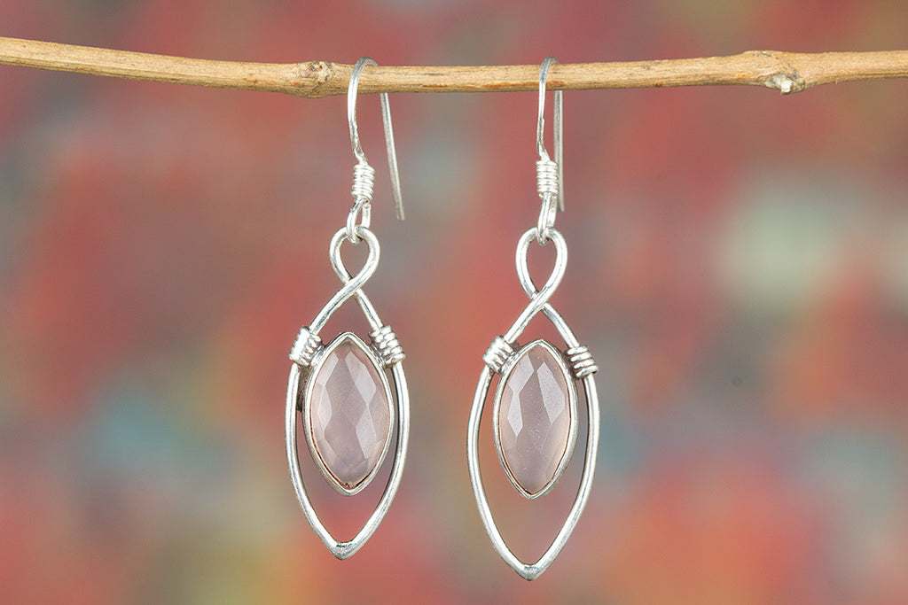 Faceted Rose Quartz Gemstone 925 Silver Earring