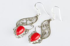 Coral Gemstone 925 Silver Earring