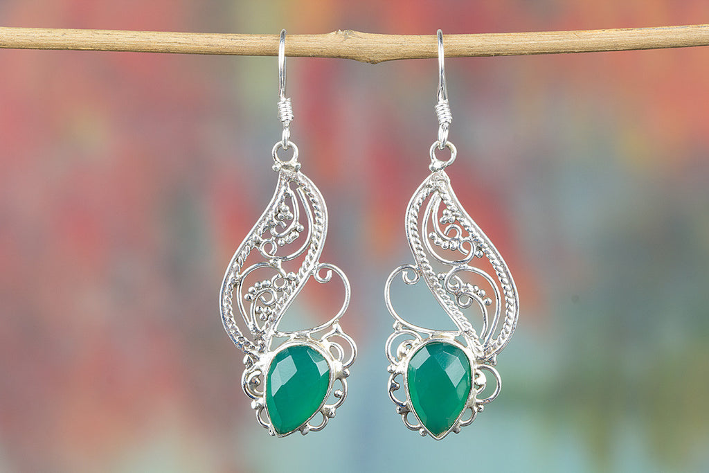 Faceted Green Onyx Gemstone 925 Silver Earring