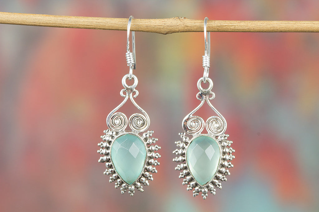 Faceted Aqua Chalcedony Gemstone 925 Silver Earring