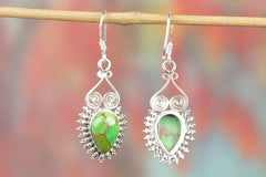 Green Turquoise Gemstone 925 Silver Earring