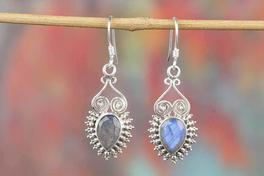 Faceted Labradorite Gemstone 925 Silver Earring