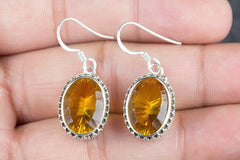 Faceted Citrine Lab Gemstone 925 Silver Earring