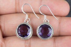 Faceted Amethyst Lab Gemstone 925 Silver Earring