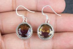 Ametrine Lab Gemstone 925 Silver Earring