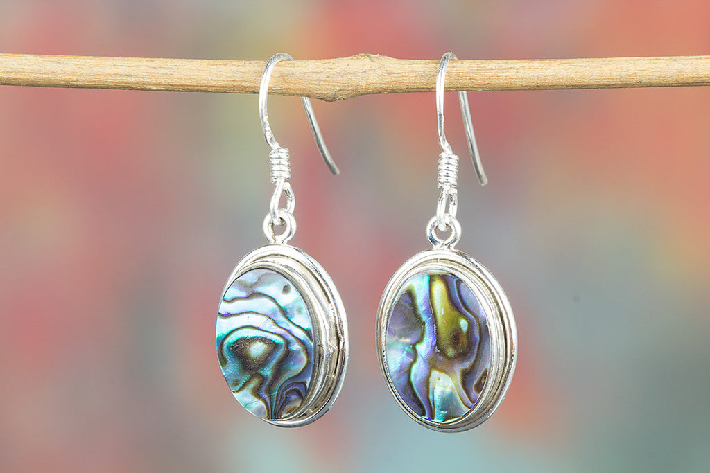 Abalone Shell Gemstone 925 Silver Earring