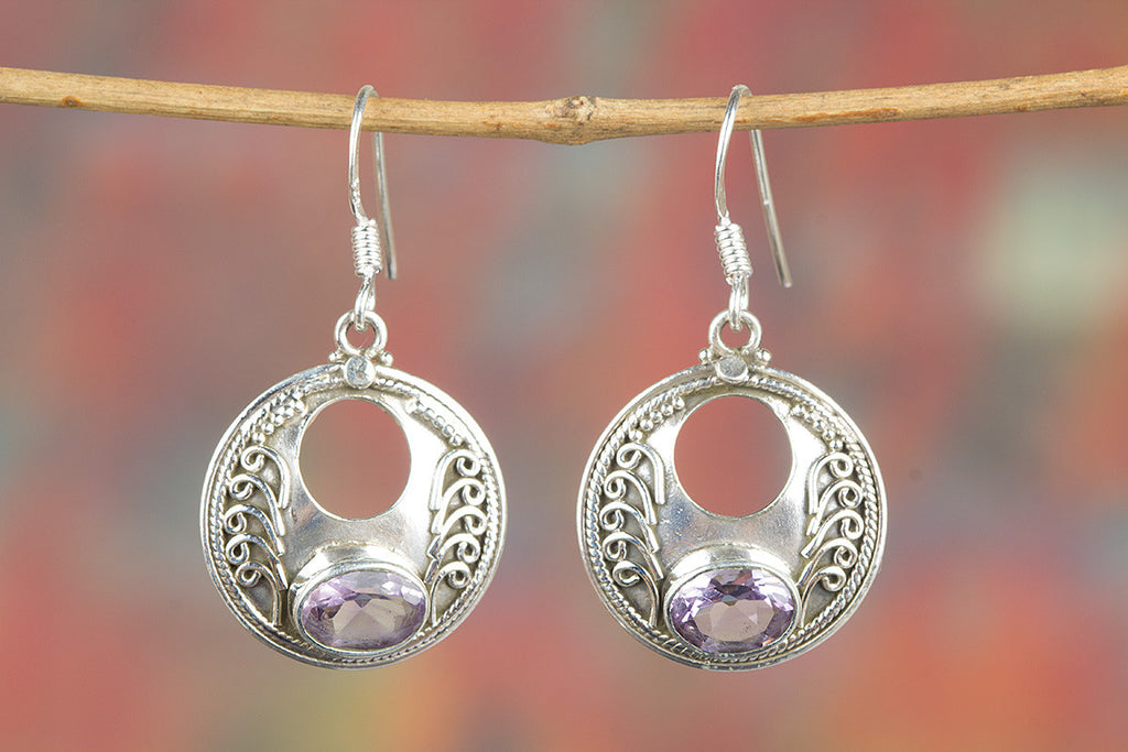 Faceted Amethyst Gemstone 925 Silver Earring