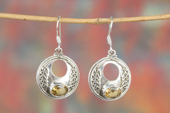Awesome Handmade Faceted Citrine Gemstone 925 Silver Earring