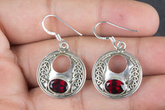 Faceted Garnet Gemstone 925 Silver Earring