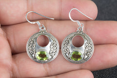 Awesome Handmade Faceted Peridot Gemstone 925 Silver Earring