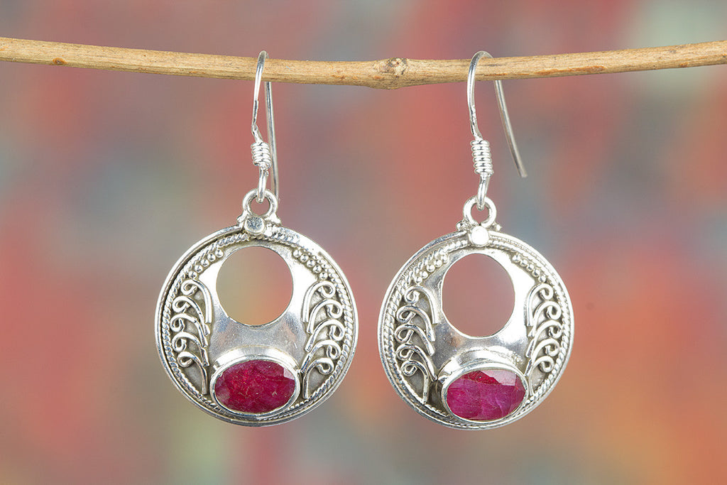 Solid Red Ruby Handmade Gemstone 925 Silver Earring