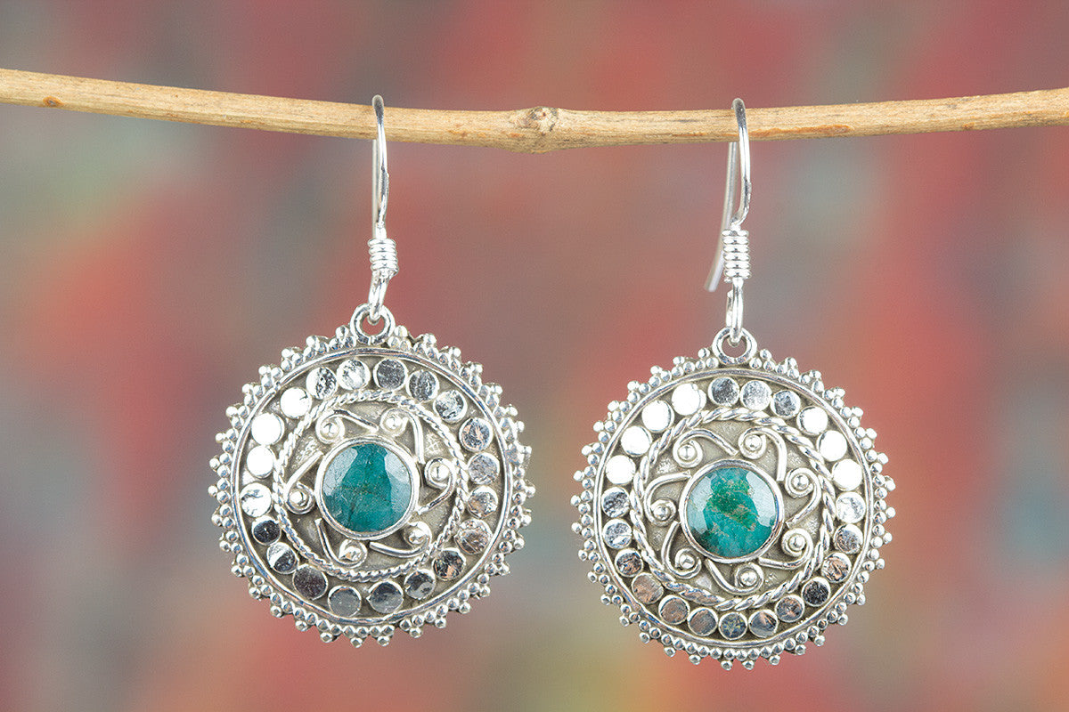 Emerald Gemstone 925 Silver Earring